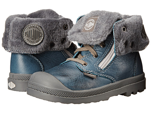 Palladium Kids - Baggy Leather (Toddler) (Nordic Blue/Metal) Kids Shoes