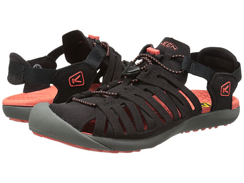 Keen - Cypress (Black/Hot Coral) Women's Shoes