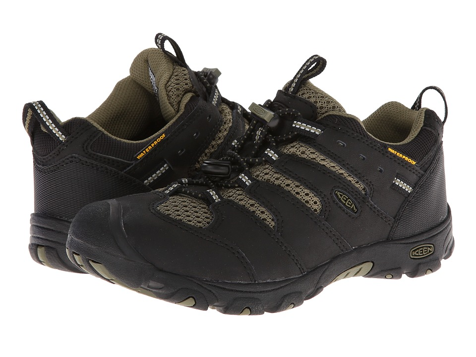 Keen Kids - Koven Low WP (Little Kid/Big Kid) (Black/Burnt Olive) Boy's Shoes