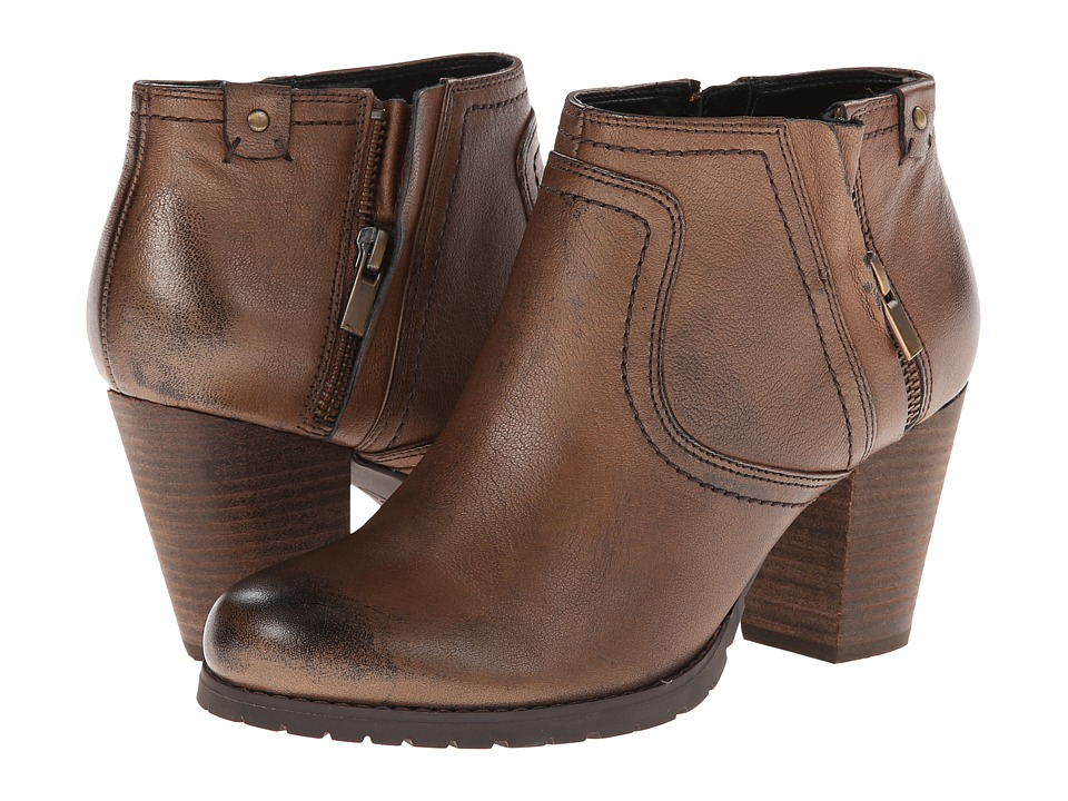 Clarks - Mission Halle (Brown Leather) Women's Zip Boots