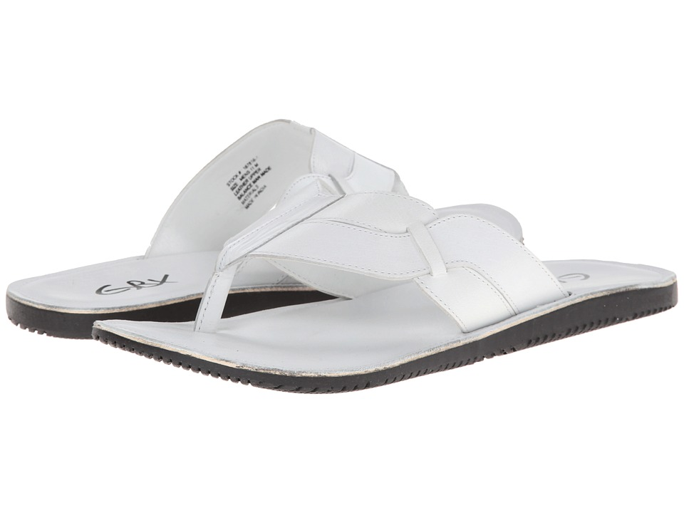 GBX - Wide Strap Thong (White) Men's Sandals