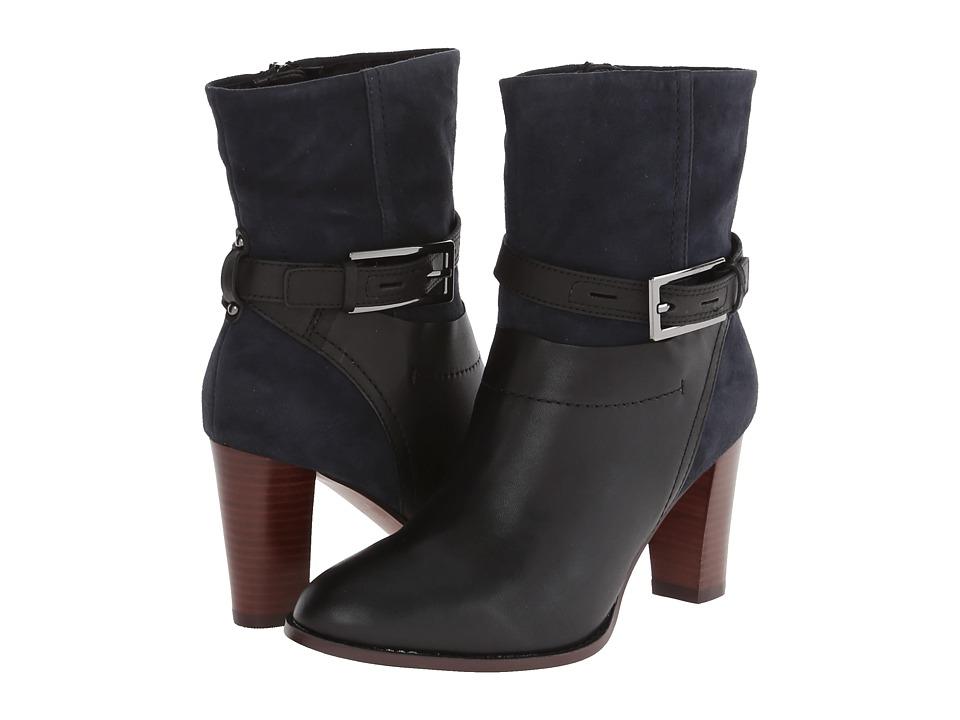 Clarks - Kacia Garnet (Black Leather/Navy Suede) Women