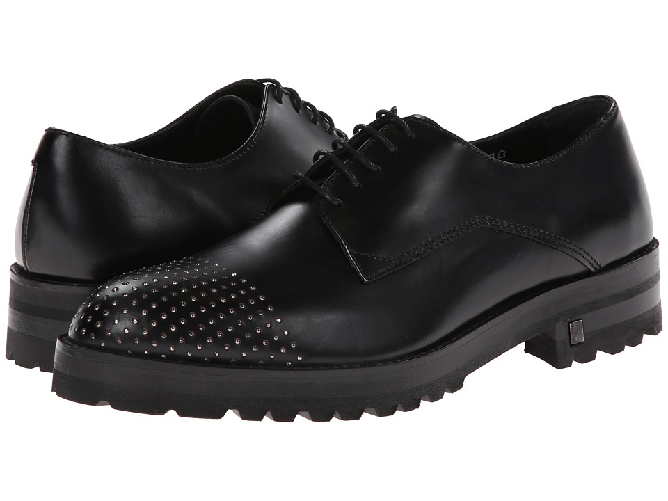 Versace Collection - Brushed Calf Lace-Up with Stud Toe (Black) Men's Lace up casual Shoes