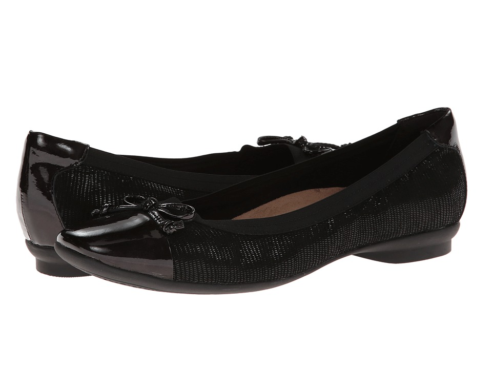 Clarks - Candra Glow (Black Suede) Women's Dress Flat Shoes