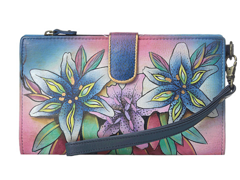 Anuschka Handbags - 1115 (Luscious Lilies Denim) Handbags