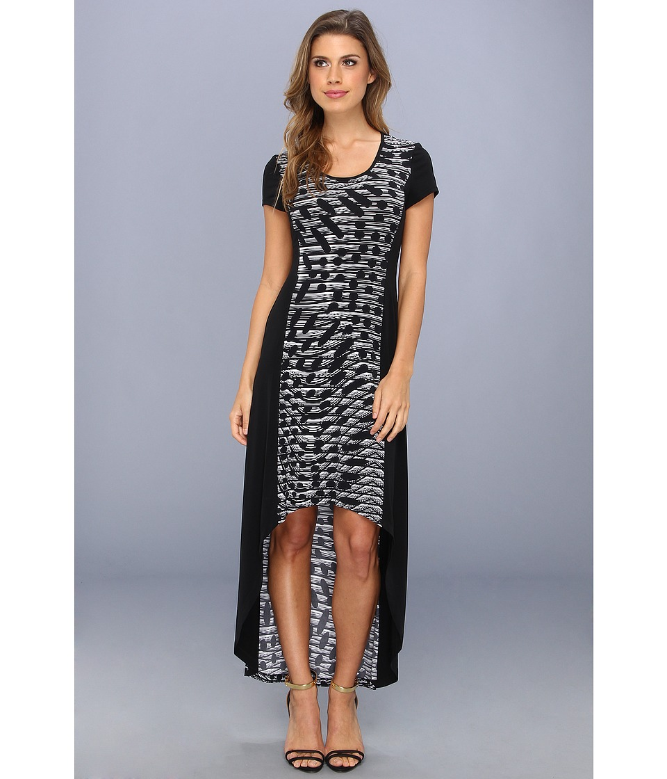 Marc New York by Andrew Marc - Hi-Lo Print Maxi Dress (Black/White) Women
