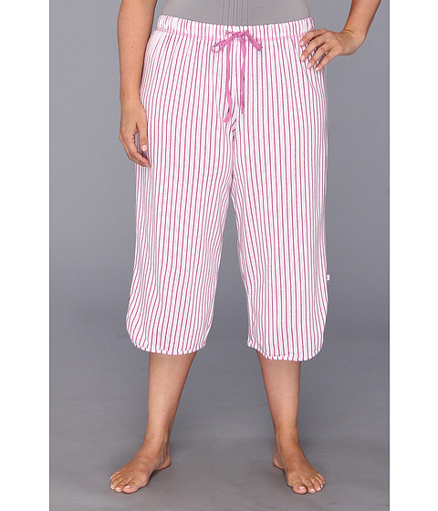 Karen Neuburger - Plus Size Pool Party knCool Crop Pant (Stripe/Fuchsia) Women