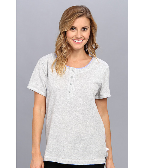 Karen Neuburger - Easy Rider S/S Henley Top (Solid/Heathered Ash) Women's Pajama