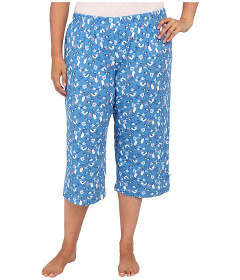 Karen Neuburger - Plus Size Bye Bye Birdie knCool Crop Pant (Novelty/Heritage Blue) Women