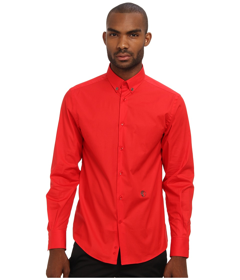 Versace Collection - Solid Stretch Cotton Button Up (Red) Men's Clothing