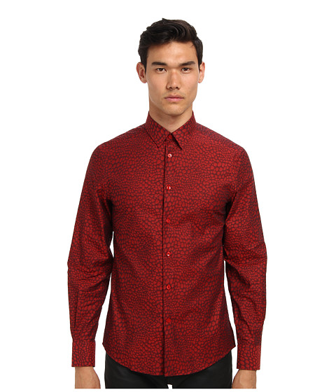 Versace Collection - Animal Print Cotton Button Up (Red) Men
