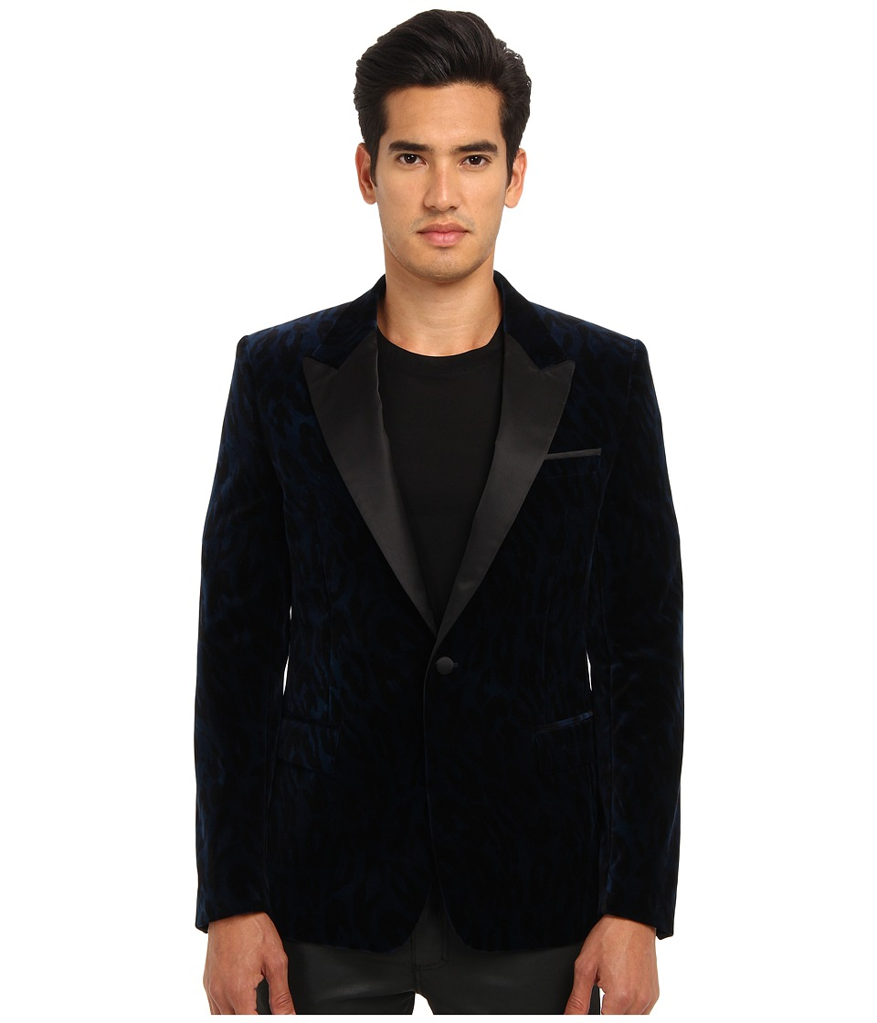 Versace Collection - Velvet Smoking Jacket (Midnight Blue Leopard) Men