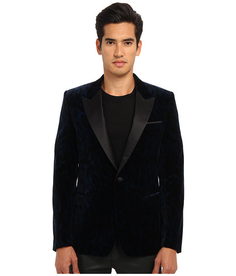 Versace Collection - Velvet Smoking Jacket (Midnight Blue Leopard) Men's Jacket