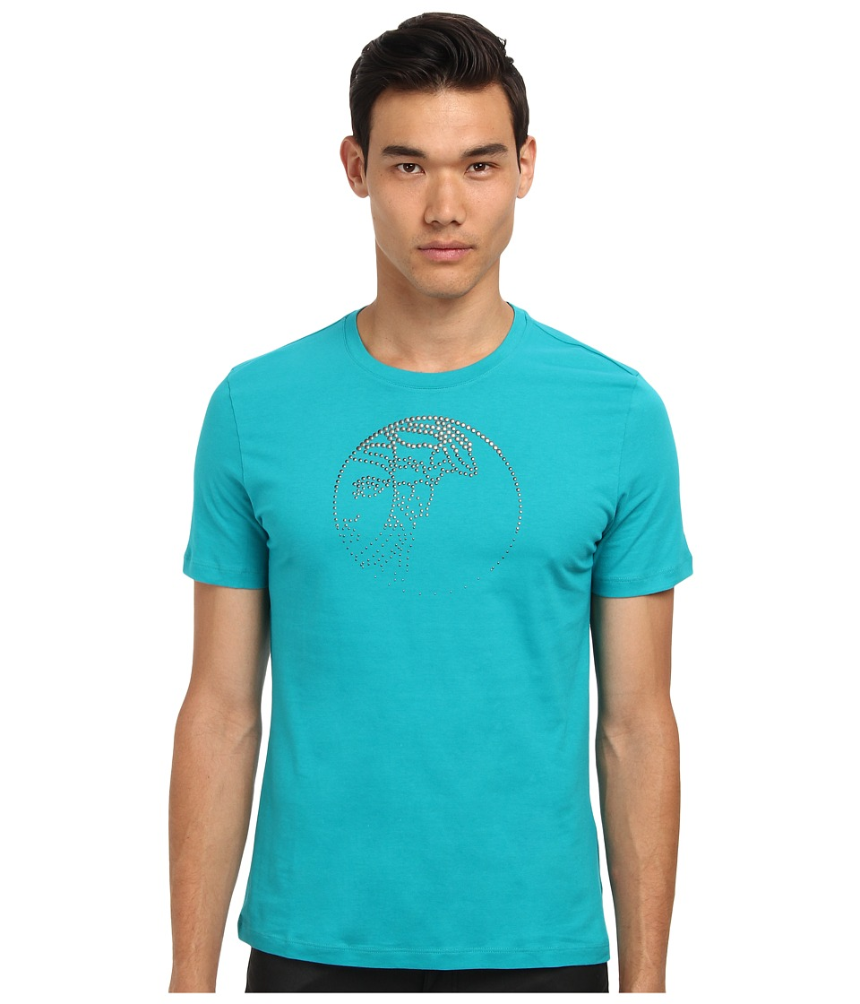 Versace Collection - Logo Studs Application Cotton Tee (Teal) Men's Short Sleeve Pullover