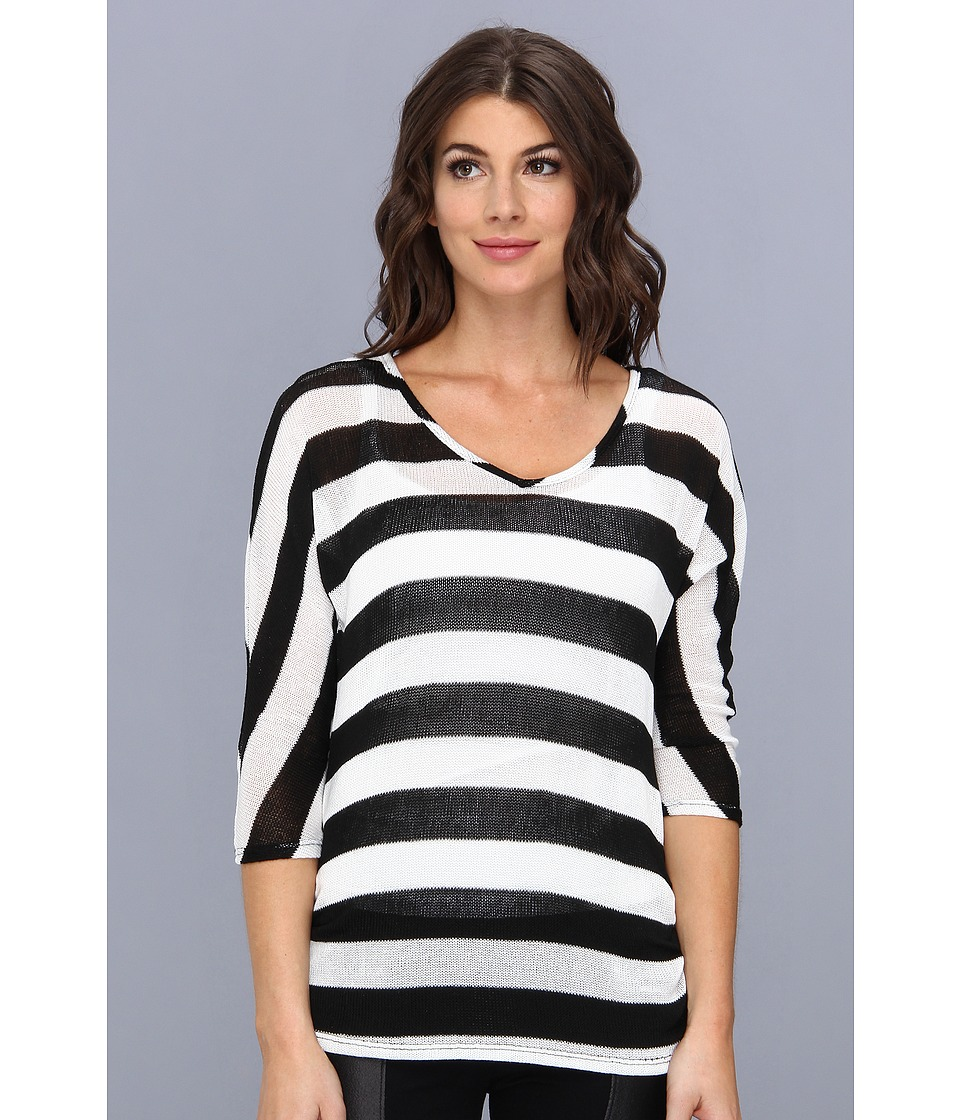 Christin Michaels - Whitney Knit Top (Black/White) Women's Clothing