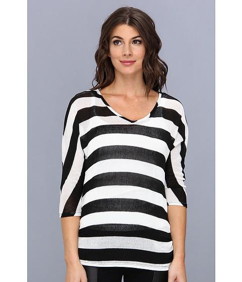 Christin Michaels - Whitney Knit Top (Black/White) Women's Clothing