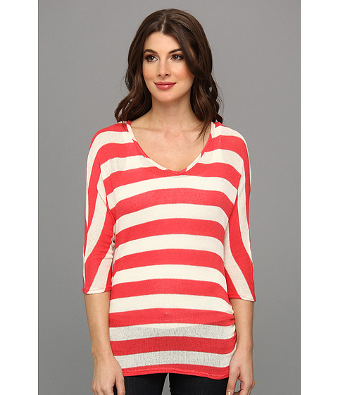 Christin Michaels - Whitney Knit Top (Coral/White) Women's Clothing