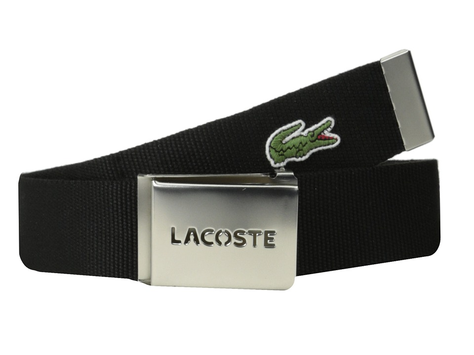 Lacoste - SPW L.12.12 Textile Croc Belt (Black) Men's Belts