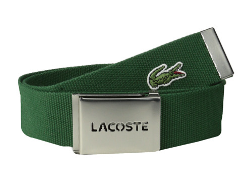 Lacoste - SPW L.12.12 Textile Croc Belt (Green) Men's Belts
