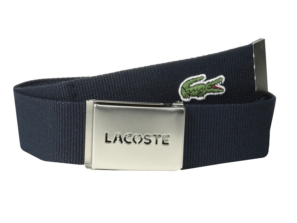 Lacoste - SPW L.12.12 Textile Croc Belt (Navy) Men's Belts
