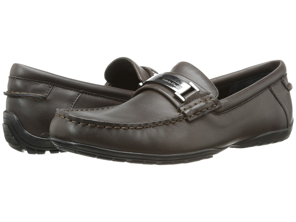 Calvin Klein - Wallace (Dark Brown Leather) Men's Slip on Shoes