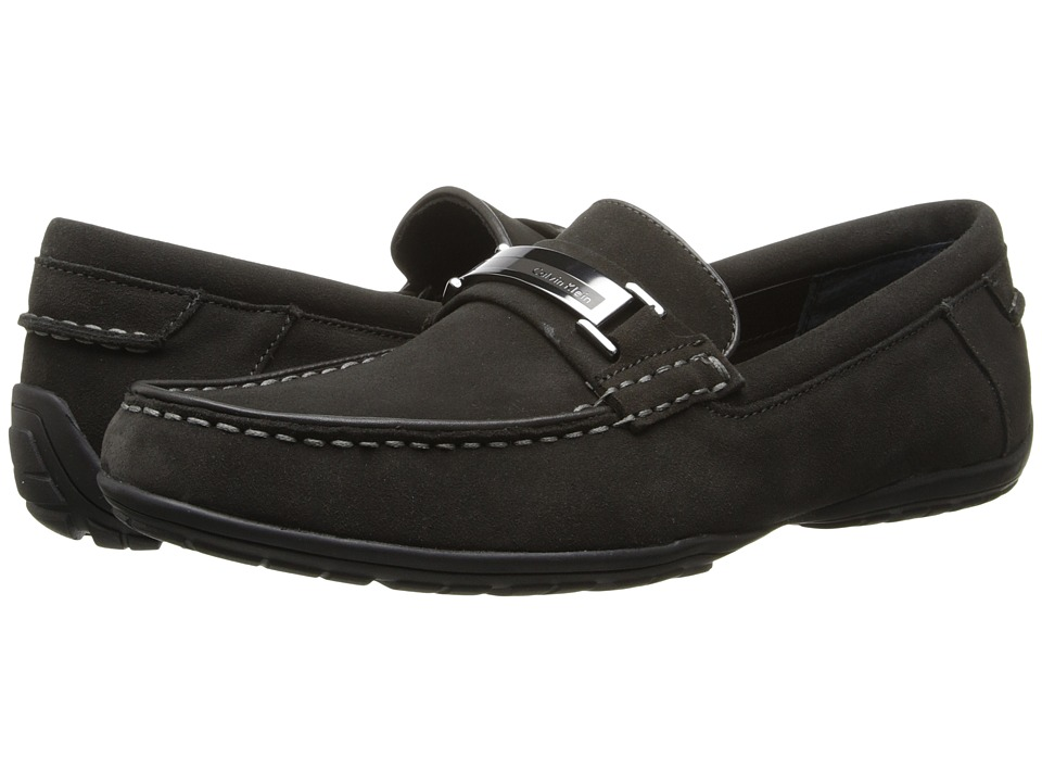Calvin Klein - Wallace (Dark Charcoal Suede) Men's Slip on Shoes