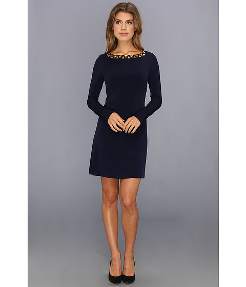 Vince Camuto - Long Sleeve Beaded Neckline Shift Dress (Navy) Women's Dress