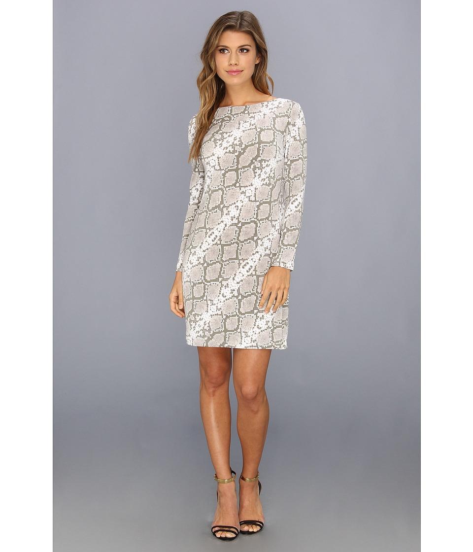 Vince Camuto Printed Jersey Long Sleeve Shift Dress Womens Dress (Blue)