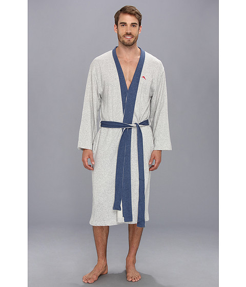 Tommy Bahama - Loop Back Heather French Terry Wrap (Heather Grey) Men's Robe
