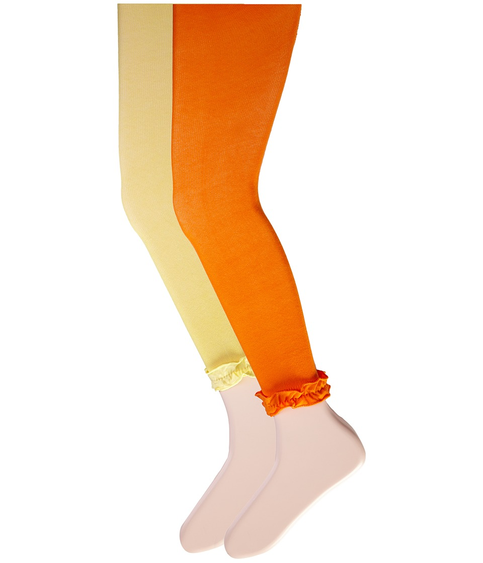 Jefferies Socks - Pima Cotton Ruffle Footless Tights 2-Pack (Little Kid/Big Kid) (Asst J - (1) Orange (1) Yellow) Hose