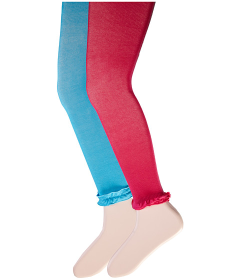 Jefferies Socks - Pima Cotton Ruffle Footless Tights 2-Pack (Little Kid/Big Kid) (Turquoise/Hot Pink) Hose