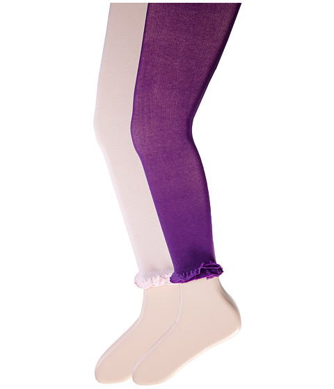 Jefferies Socks - Pima Cotton Ruffle Footless Tights 2-Pack (Little Kid/Big Kid) (Pink/Purple) Hose