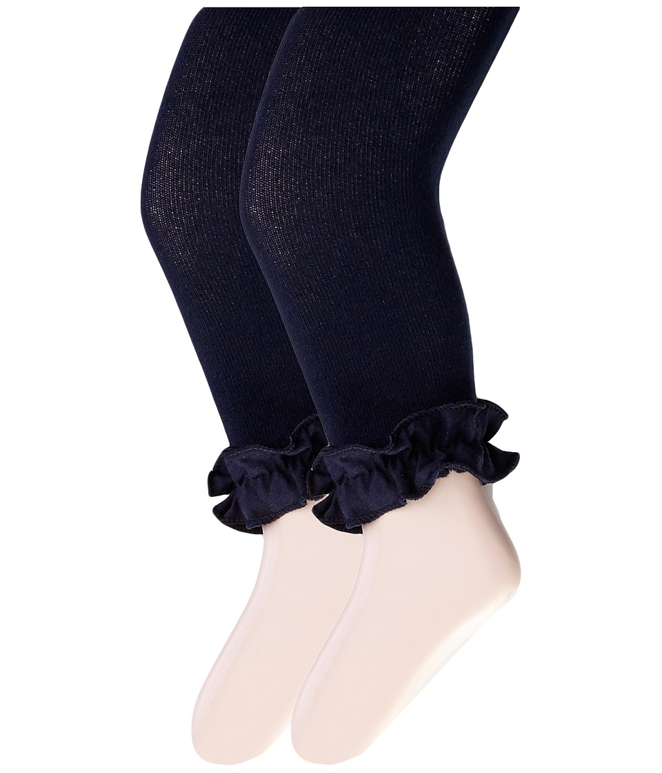 Jefferies Socks - Pima Cotton Ruffle Footless Tights 2-Pack (Infant/Toddler/Little Kid/Big Kid) (Navy) Hose