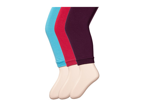 Jefferies Socks - Pima Cotton Footless Tights 3-Pack (Little Kid/Big Kid) (Asst B - (1) Plum (1) Hot Pink (1) Turquoise) Hose