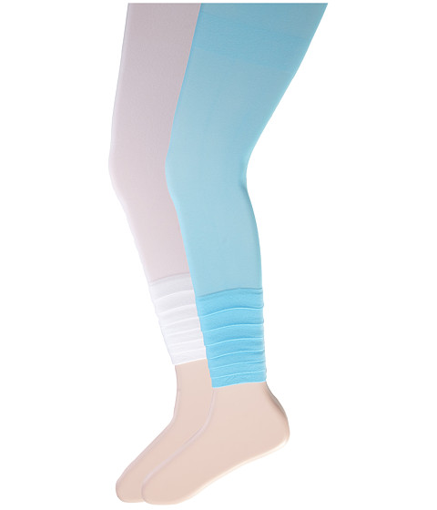 Jefferies Socks - Layers Footless Tights 2-Pack (Little Kid/Big Kid) (Asst B - (1) Aqua (1) White) Hose