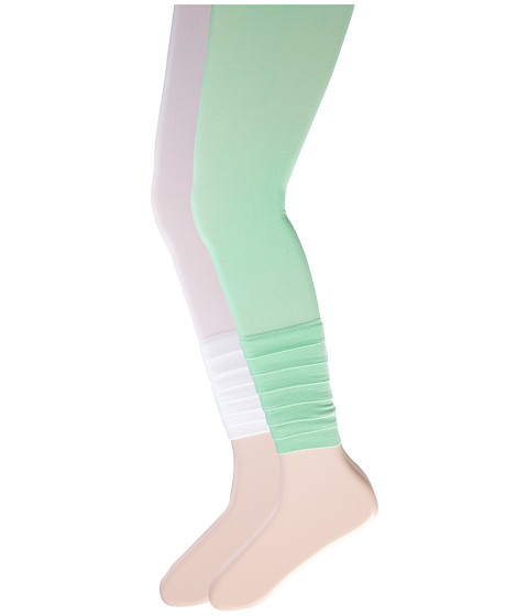 Jefferies Socks - Layers Footless Tights 2-Pack (Little Kid/Big Kid) (Asst C - (1) Kiwi (1) White) Hose