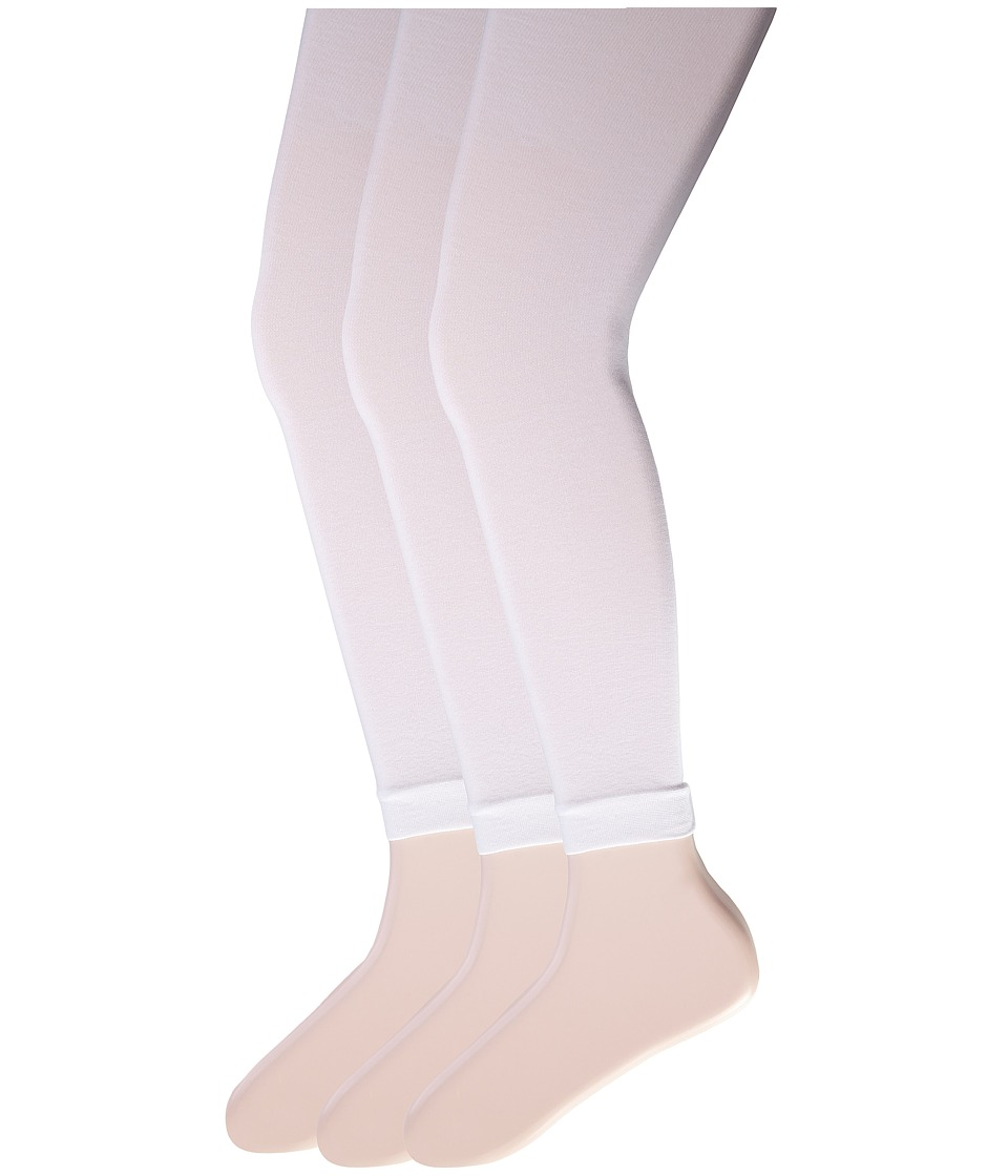 Jefferies Socks - Pima Cotton Footless Tights 3-Pack (Little Kid/Big Kid) (White) Hose