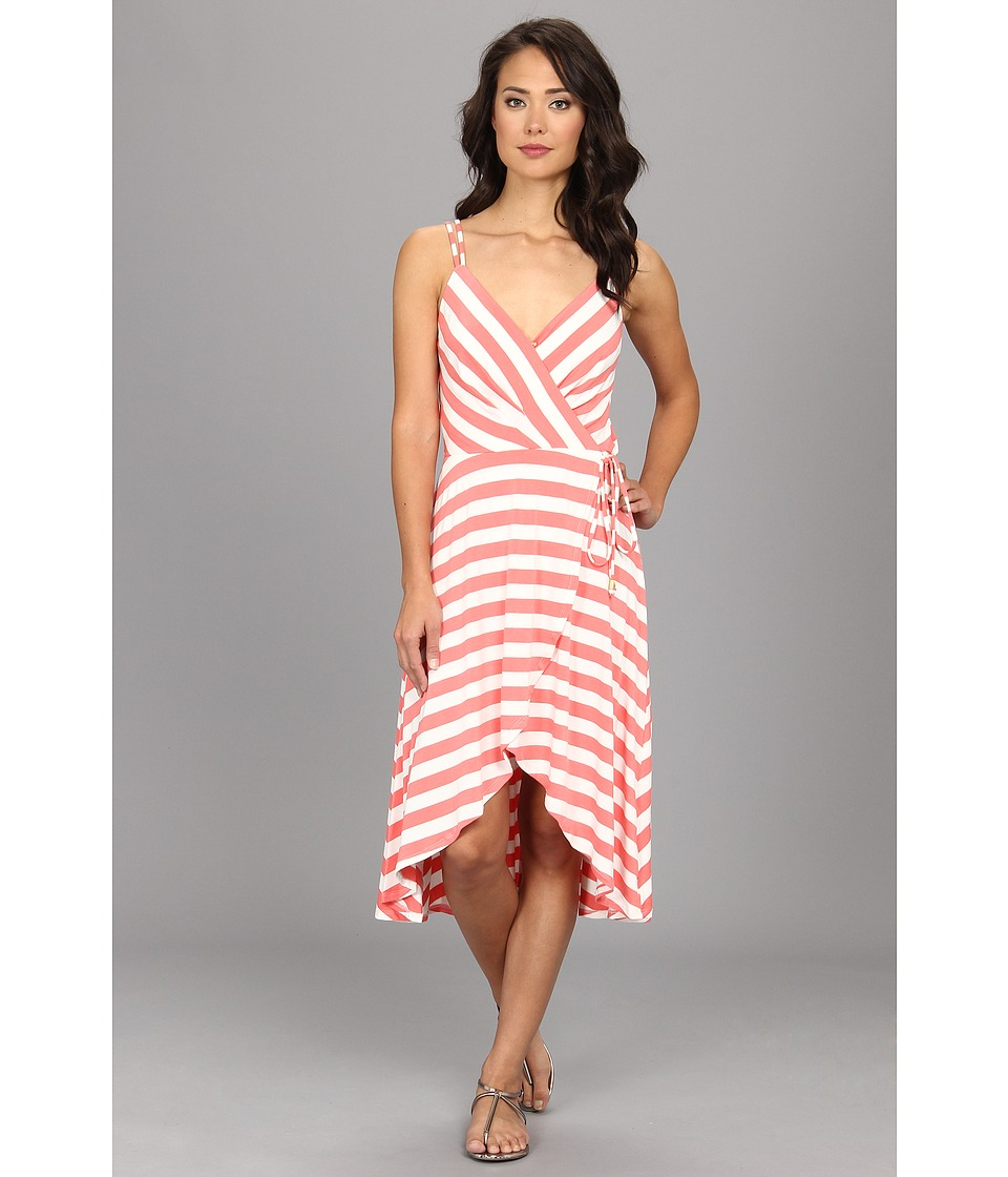 Vince Camuto - Striped High-Low Faux Wrap Dress (Peach/Ivory) Women