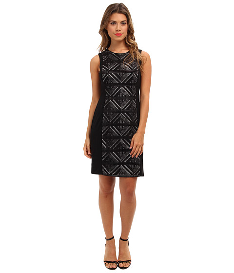 Vince Camuto - Sleeveless Lace Dress w/ Contrast Jersey Side Panels (Black) Women's Dress