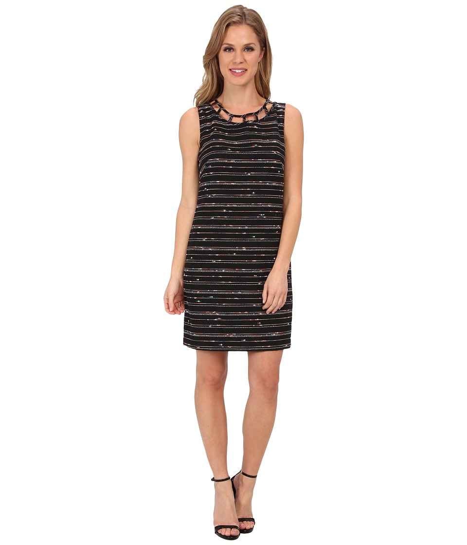 Vince Camuto - Sleeveless Tweed Shift w/ Neck Cutouts (Black Multi) Women's Dress