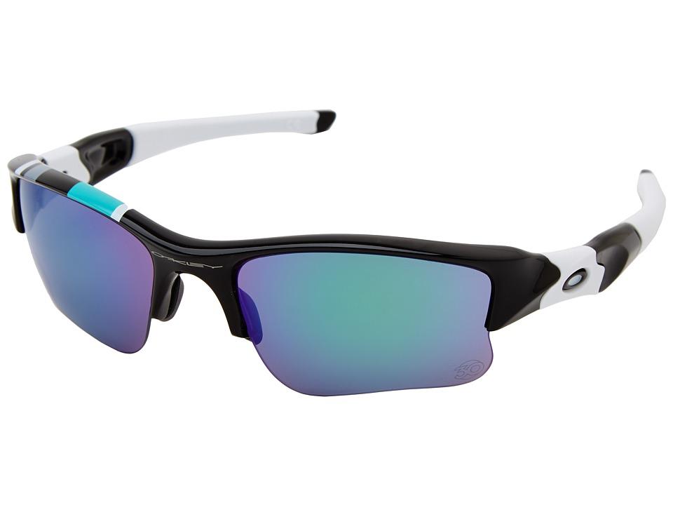 Oakley - Flak Jacket XLJ (Pol Black w/ Jade Iridium) Sport Sunglasses