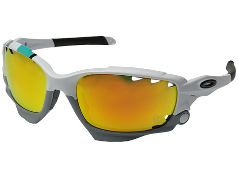 Oakley - Racing Jacket (Pol White w/ Fire Ird Vt/Black Ird Vt) Sport Sunglasses