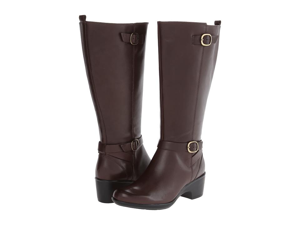 Clarks - Malia Poplar A - Wide Shaft (Brown Leather) Women's Boots