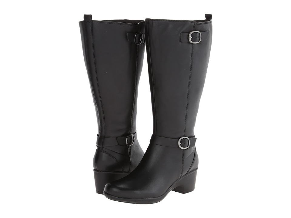 Clarks - Malia Poplar A - Wide Shaft (Black Leather) Women's Boots