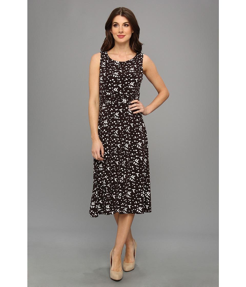 Jessica Howard Sleeveless Ruched Waist Dress Womens Dress (Brown)