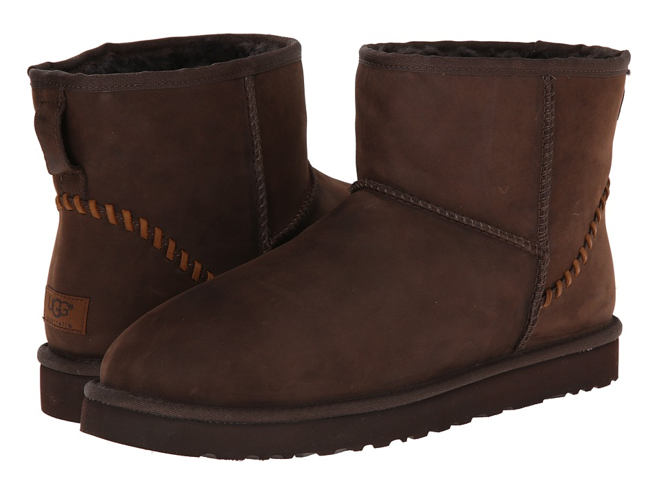 UGG - Classic Mini Deco (Stout Leather) Men's Pull-on Boots