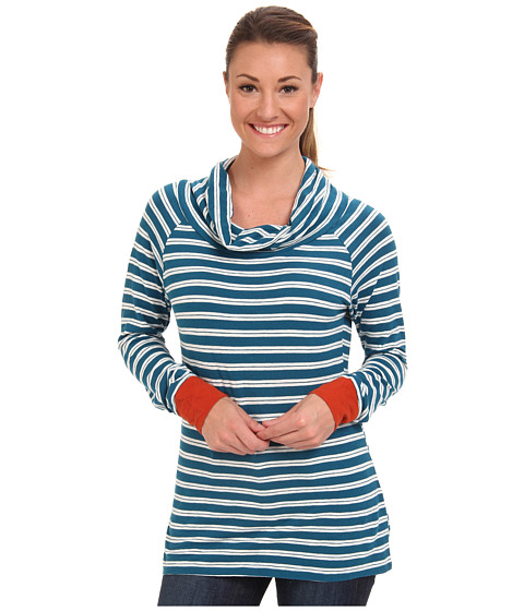Toad&Co - Stripe Out Boat Twist Tee (Moroccan Blue Stripe/Cayanne) Women