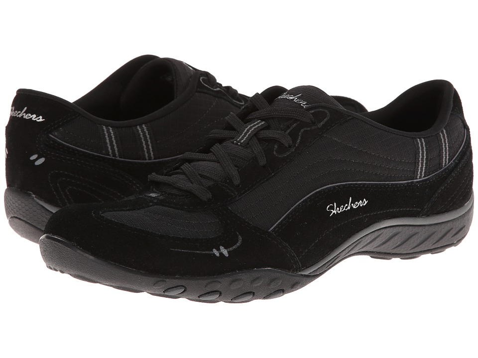 SKECHERS - Relaxed Fit: Breathe - Easy - Just Relax (Black/Charcoal) Women's Lace up casual Shoes