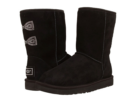 UGG - Classic Short Crystal Bow (Black) Women
