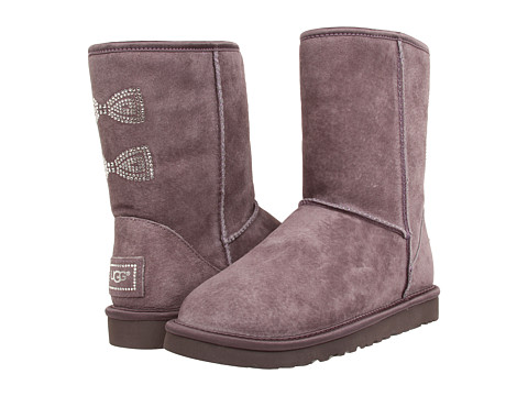 UGG - Classic Short Crystal Bow (Locomotive Grey) Women's Boots